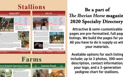 Taking orders for The Iberian Horse Directory Specialty Listing Pages.