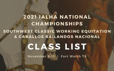 2021 Nationals Class List